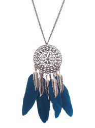 Alloy Floral Round Leaf Feather Necklace -