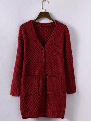 Textured Buttoned Double Pockets Cardigan -