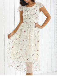 Cap Sleeve Floral Lace Party Dress