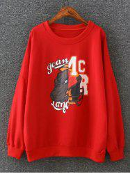 Cartoon Applique ample Sweatshirt - Rouge