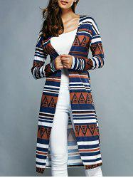 Collarless Long Sleeves Striped Cardigan