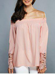 Off-The-Shoulder Laciness Cutwork Blouse -