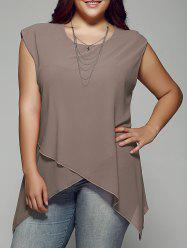 Plus Size Asymmetrical Chiffon Blouse - KHAKI 2XL