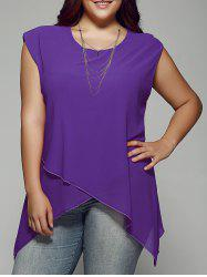 Plus Size Asymmetrical Chiffon Blouse