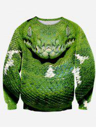 Long Sleeve Round Neck Snake 3D Print Sweatshirt