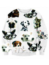 Puppy 3D Print Crew Neck Long Sleeve Sweatshirt - WHITE XL