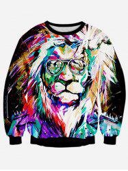 Colorful Lion 3D Print Long Sleeve Sweatshirt - BLACK