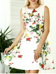 Sleeveless Slimming Floral Print Dress -