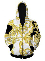 Ornate Printed Zip Up Long Sleeve Hoodie - WHITE L