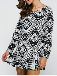 Geometric Print Flounce Loose-Fitting Dress - BLACK XL