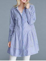 Pinstriped Loose-Fitting Pocket Design Blouse - BLUE 5XL