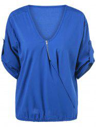 V Neck Bat Sleeve Loose Tee