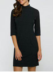 Turtleneck Half Sleeve Mini Knit Dress - BLACK