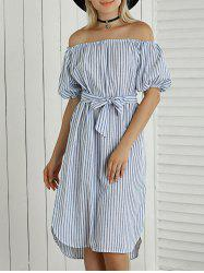 Off The Shoulder Striped Tie-Waist Asymmetrical Dress