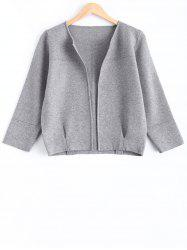 Knitted Collarless Short Cardigan