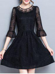 Flare Sleeve Cutwork Dress - BLACK