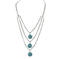 Chain Layered Faux Turquoise Pull Chain -