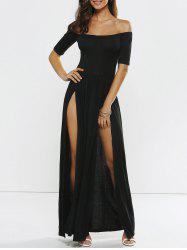 Off Shoulder Slit Maxi Prom Formal Dress