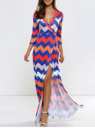 Chevron Maxi Wrap Dress