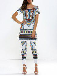 African Style Long Tee With Pencil Pants