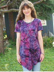 Tie-Dye Asymmetrical Short Sleeve T-Shirt