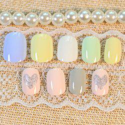 24 PCS Heart Pattern Glitter Powder Nail Art False Nails -