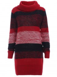 Ribbed Long Sleeves Turtleneck Jumper Dress - RED