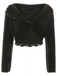 Single-Buttoned Ribbed Cutwork Cardigan -