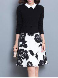 Floral Print Splicing Slimming Dress -