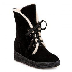 Lace Up Faux Fur Suede Wedge Mid Boots -