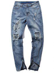 Zipper Cuff Five-Pocket Narrow Feet Ripped Jeans