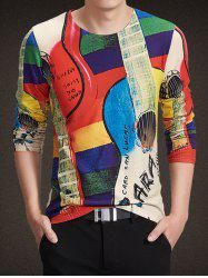 Round Neck Long Sleeve 3D Guitar Print T-Shirt