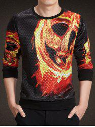 Round Neck 3D Flame Skull Print Argyle Long Sleeve Sweatshirt