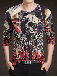 Round Neck 3D Wings and Skull Print Long Sleeve Knitting T-Shirt