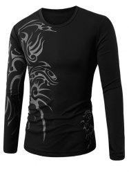 Tattoo Printed Round Collar Long Sleeve T-Shirt -