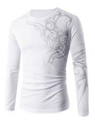 Slim Fit Long Sleeve Tattoo Print T-Shirt - WHITE