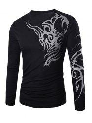 Round Neck Long Sleeve Tattoo Print T-Shirt - BLACK