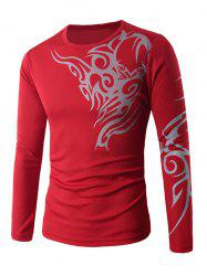 Round Neck Long Sleeve Tattoo Print T-Shirt - RED