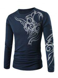Round Neck Long Sleeve Tattoo Print T-Shirt