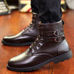 Buckle Lace-Up Combat Boots - BROWN