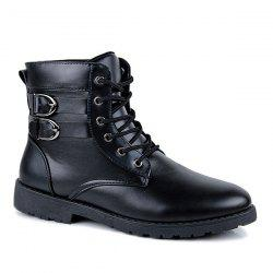 Buckle Lace-Up Combat Boots - BLACK