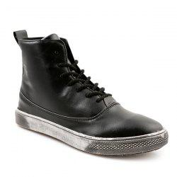 Lace-Up PU Leather Short Boots - BLACK 44