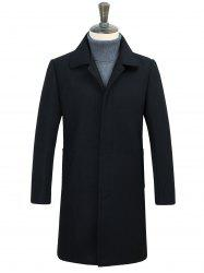 Covered Button Longline Woolen Coat