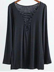 Long Sleeves Lace-Up T-Shirt - BLACK L