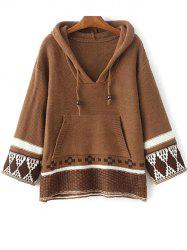 Hooded Drawstring Front Pocket Sweater -