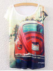 Short Sleeve Car Printed Round Neck T-Shirt - WHITE