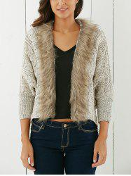 Fashionable Solid Color With Faux Fur Long Sleeve Women's Cardigan - LIGHT KHAKI