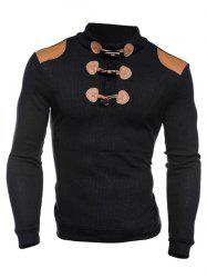 Ribbed Shoulder Patch Claw Button Long Sleeve Sweater - BLACK