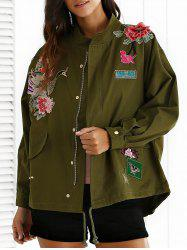Stand Neck Rivet Embroidered Patchwork Coat - ARMY GREEN