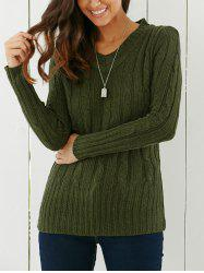 Longline V Neck Sweater - GREEN